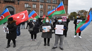 Danimarka'da, Azerbaycan'a destek gösterisi