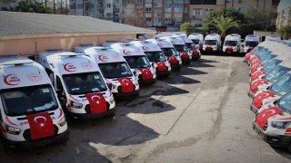 Sağlık Bakanlığınca Mersin'e gönderilen 24 ambulans kente ulaştı