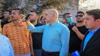 Ulaştırma ve Altyapı Bakanı Adil Karaismailoğlu, Akseki'de yanan alanları inceledi
