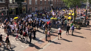 Hollanda'da binlerce gösterici aşı zorunluluğunu ve Kovid19 önlemlerini protesto etti